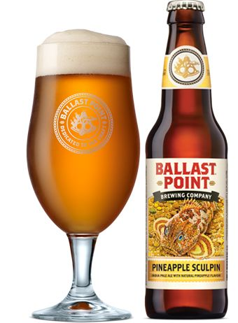"""Ballast Point Brewing Company - Pineapple Sculpin IPA """"came from one of many small-batch cask experiments to enhance the flavor of our signature IPA. With so many tropical hop notes in Sculpin, how could we not try adding some sweet, juicy pineapple? The combination of fruity flavors and hop intensity definitely packs a punch."""" 