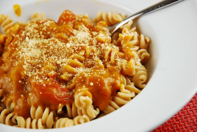 Pumpkin Pasta Sauce Recipe - I added sausage and used canned diced tomatoes. Served sauce over roasted eggplant w some Parmesan cheese on top.  Very good and thick.