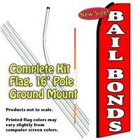 BAIL BONDS (Red) Feather Banner Flag Kit (Flag, Pole, & Ground Mt) by Vista Flags. $69.99. Tall Feather Banner Kit (16 foot Pole , Flag and Ground Mount). Ships within 2 business days!. A great way to advertise.. Flag made of knit polyester for longer life and brighter colors.. 100% dyed-through image, single-sided (back side reverse).. Make sure your potential customers can find you and know what you sell. These 11.5 foot banners are designed to draw attention to you. They re...