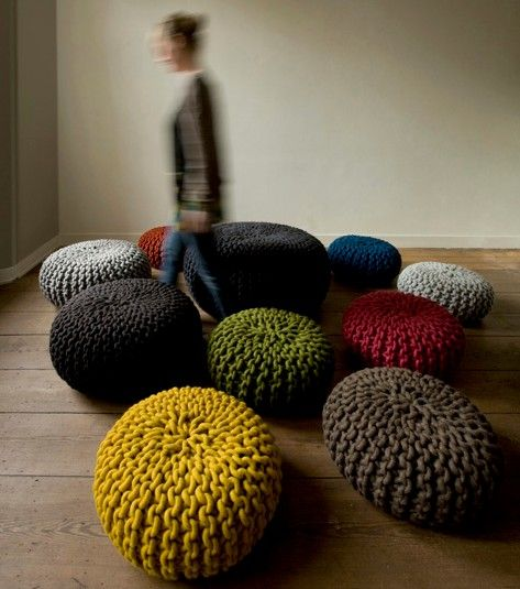 Urchin Poufs, Hand knit by Dutch Designer Christien Meindertsma