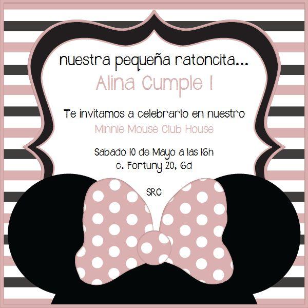 Invitaciones Minnie Mouse fiesta cumple rosa palo