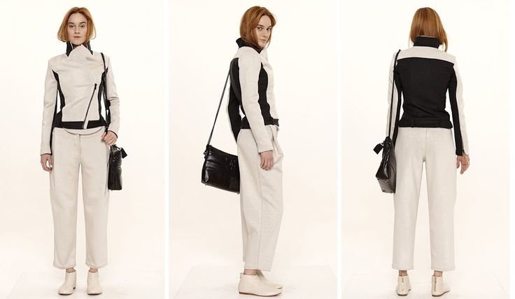 Dori Tomcsanyi two tone biker jacket with pleat front trousers.  Available from September at the webshop. http://doritomcsanyi.com/