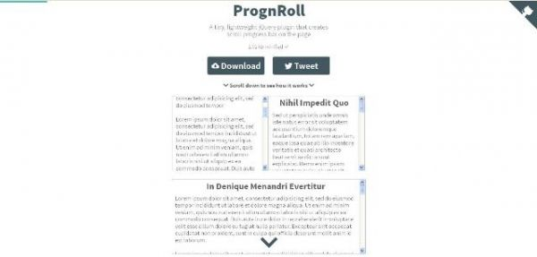 Un petit plugin jQuery pour animer la progression d'une barre de défilement - prognroll  Prognroll est un petit plugin jQuery qui vous permet d'animer la progression d'une barre de défilement.   http://www.noemiconcept.eu/index.php/en/departement-communication/news-departement-com/207509-webdesign-un-petit-plugin-jquery-pour-animer-la-progression-dune-barre-de-d%C3%A9filement-prognroll.html