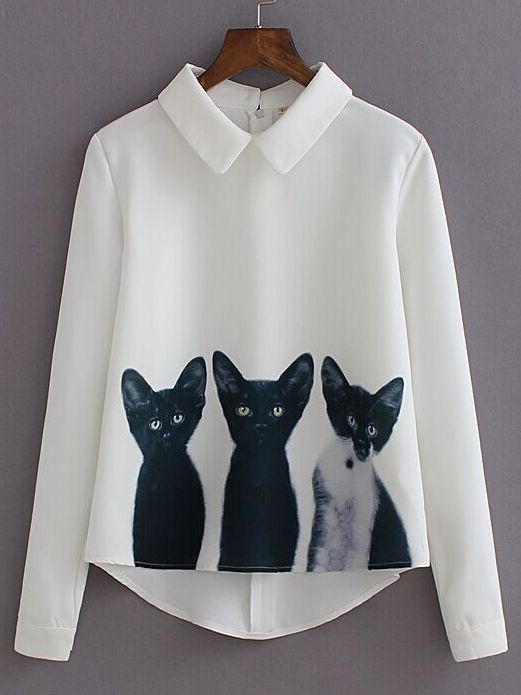 White Lapel Long Sleeve Cats Print Blouse from m.shein.com cute styles