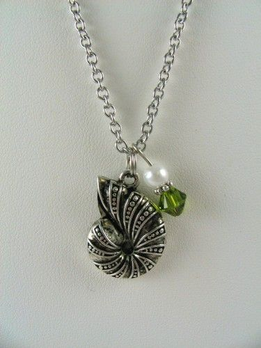 Kappa Delta Necklace 17 Nautilus Shell White Pearl Olive Crystal   kindnesschains - Jewelry on ArtFire