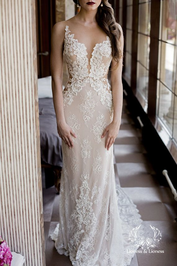 LACE WEDDING DRESS, UNIQUE WEDDING DRESS
