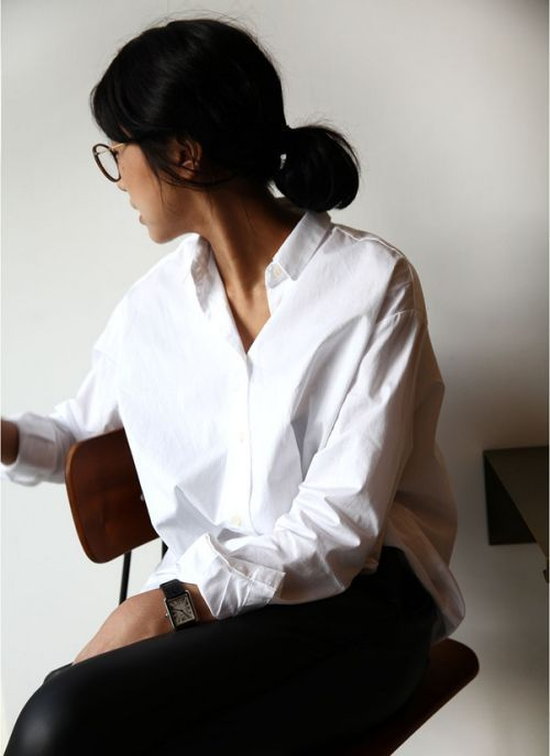 Simple white shirt and black leather look trousers / pants