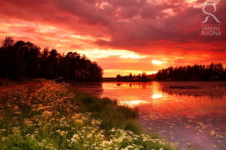 Dramatic sunset in Finland over a lake, surreal photo, print you can frame for your wall, 8in x 12in. $28.00, via Etsy.