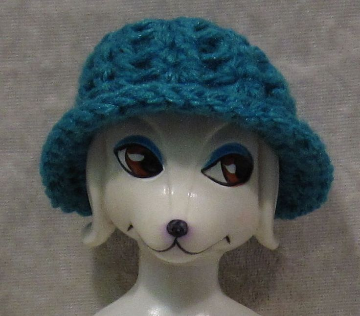 Crochet HAT for PETEENA POODLE Dog Dolls #15 Handmade Dark Teal CAP #HandmadebyESCHdesigns