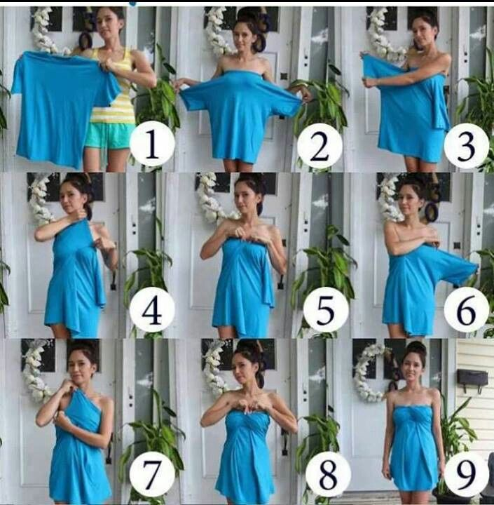 What a cool idea to make a cute bathing suit cover up or summer dress out of a man's t-shirt.