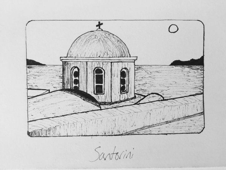 Santorini - felt tip fine print