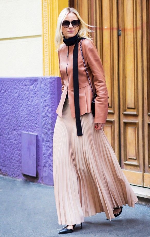 Leather jacket and a black skinny scarf paired with a pleated maxi skirt