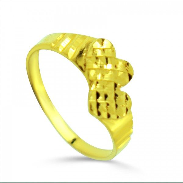 62971ae202e7cb Double Heart Design Laser Cut Style Infant Baby Ring - 22kt yellow gold