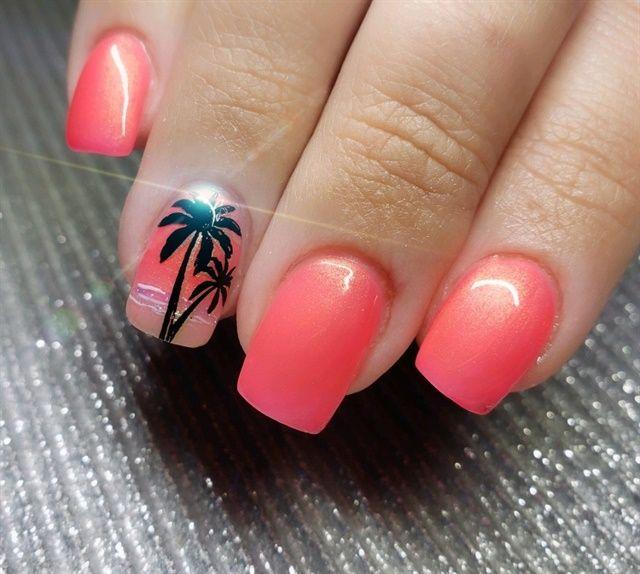 Day 128 Tropical Vacation Nail Art