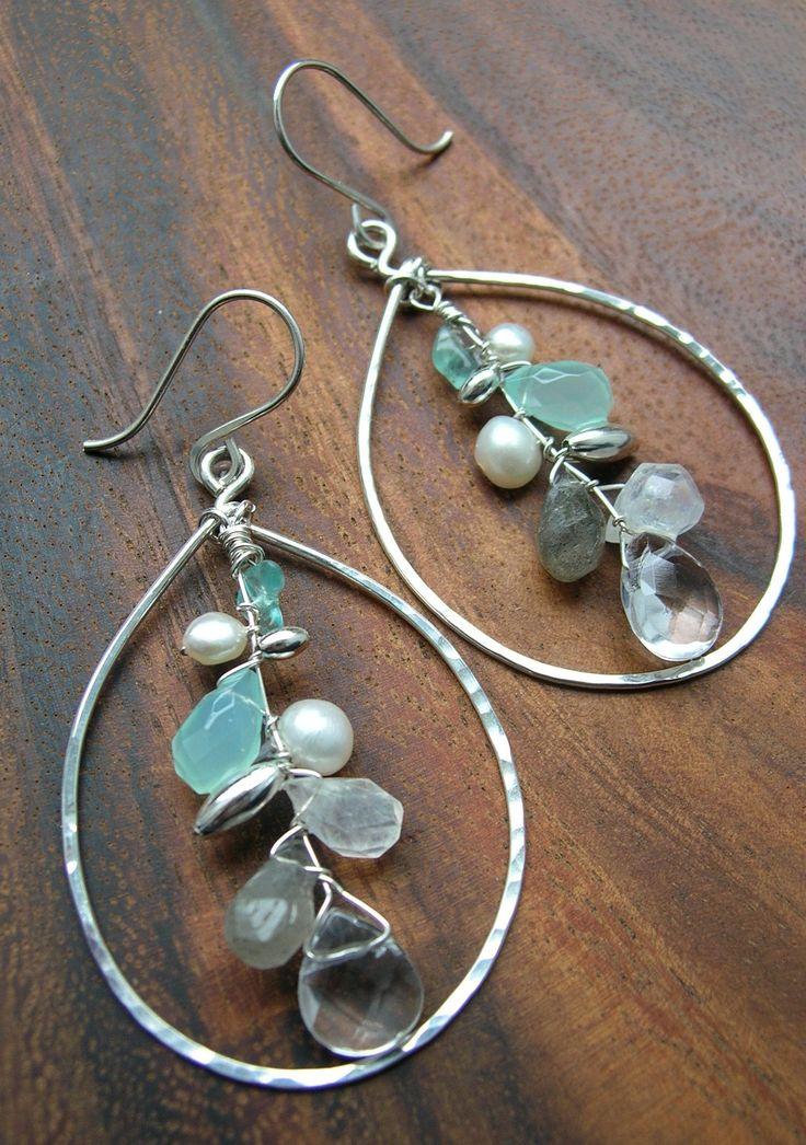 Up Stream, Large Silver Hammered Hoop Chandelier Gem Stone Earrings.  via Etsy.
