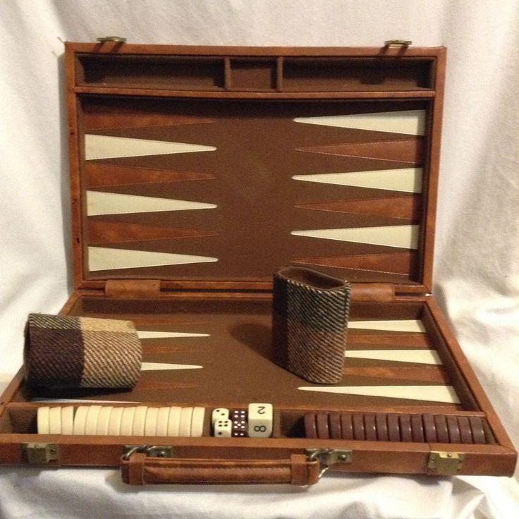 "Viscount Leather Backgammon vintage 18"" plaid fabric breif case 70s retro game #CamborGames"