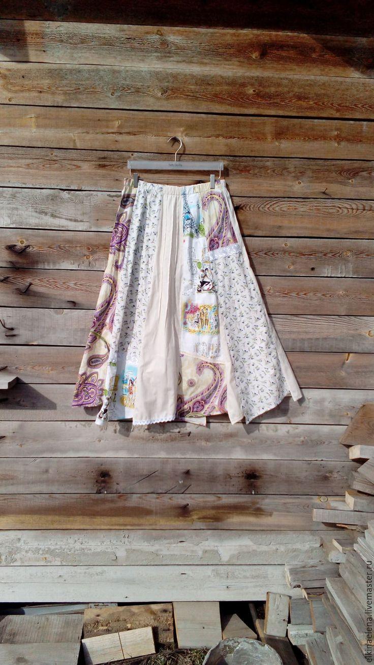 Купить Нежность Прованса - летняя, оригинальная  бохо-юбка из хлопка. - цветочный, бежевый, юбка