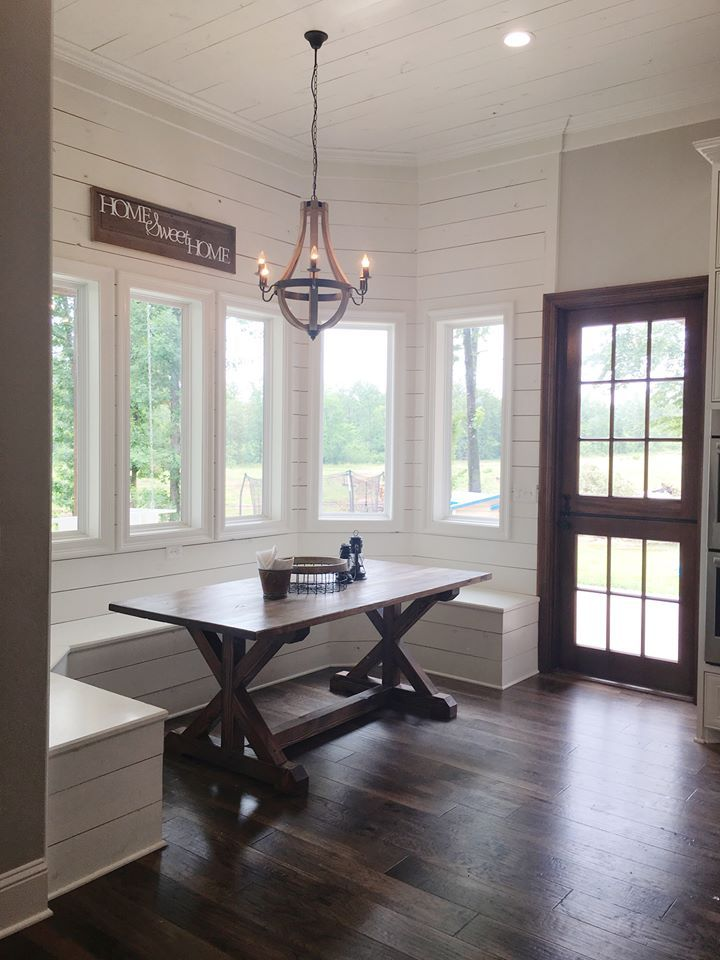 Seriously love this.   Breakfast nook, farmhouse table, barn door, modern farmhouse Beverage Building & Remodeling https://www.facebook.com/beveragebuilding/