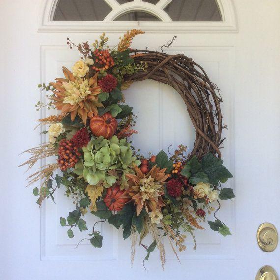 Fall Wreath-Fall Decor-Pumpkin Wreath-Rustic by ReginasGarden