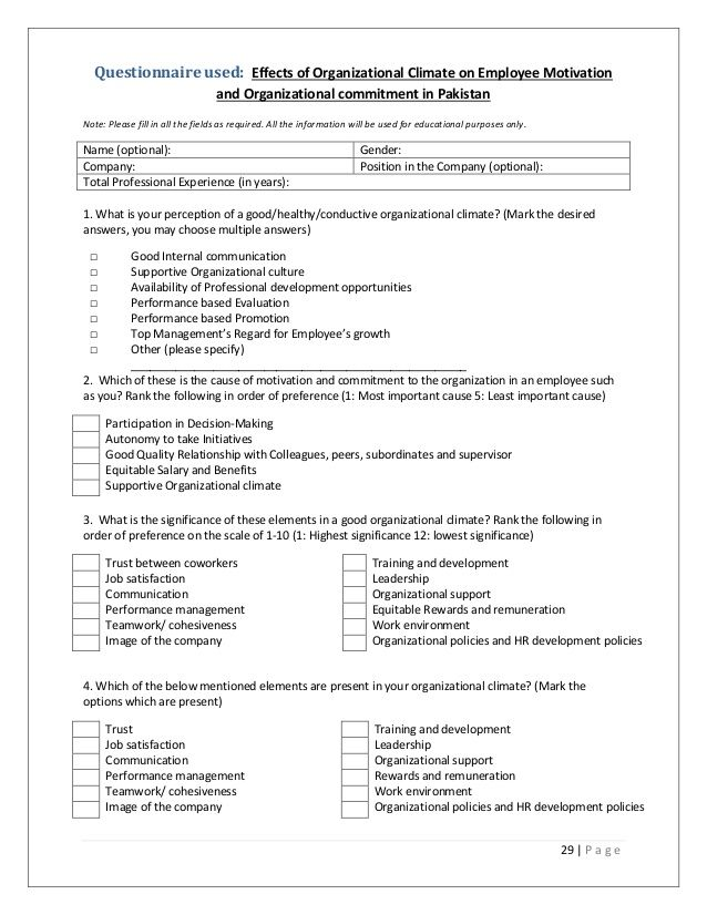 Questionnaire Used Effects Of Organizational Climate On