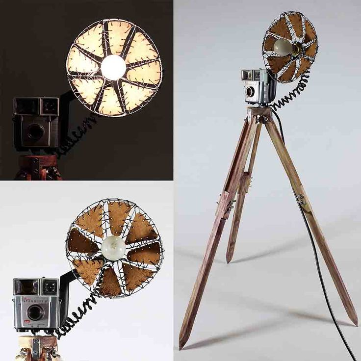 a Collection Vintage Cameras and Video Cameras converted into Lamps. The Cameras are mounted on wooden Tripods. Each Camera is fitted with a 'Flash' made from Tin, Wire and Leather. see more @ the mind is right http://themindisright.com/Project/Vintage-Camera-Lamps #beautiful #instaart #instaarte #instaarts #instaartistic #art #artwork #artist #artshow #artgallery #newartwork #artfairnyc #fineart #myart #artnews #artinfo #creative  #arte #follow #artwork #artoftheday #gallery #artist…