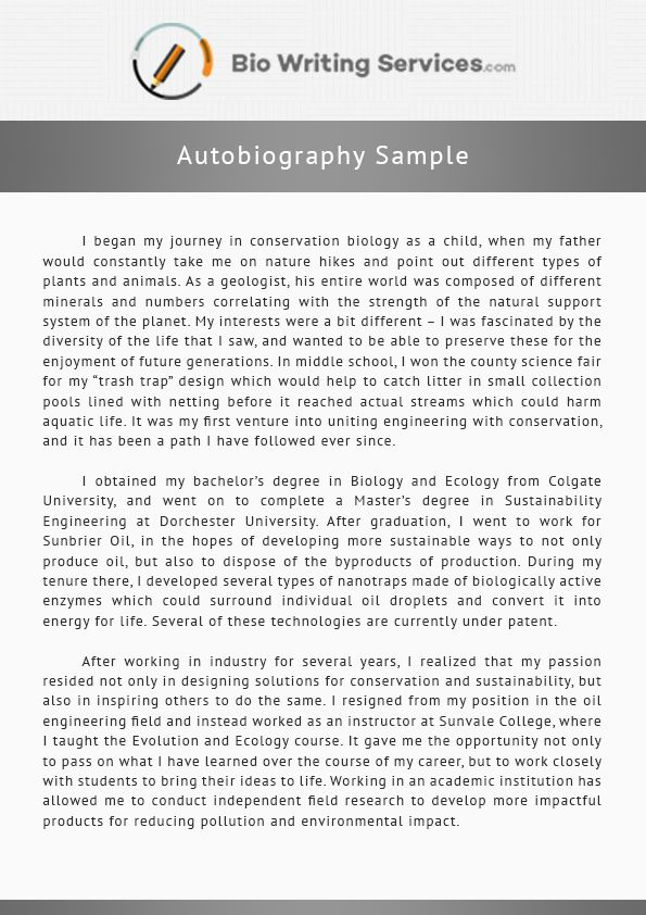 Most of the people cannot write about themselves. See this autobiography sample to help you. Find more samples here http://www.biowritingservices.com/our-biography-writing-services/autobiography-writing-services/
