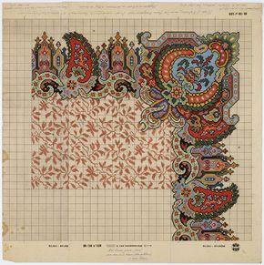 Achterop de tekening staat:, Werk- of weeftekening van de Deventer Smyrna handgeknoopt tapijt., de stijl is ongeveer uit 1850-1860. Directeur van de KDT was toen de heer Birnie uit Deventer