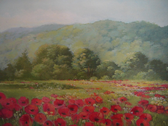 """landscape painting of Italian countryside, acrylic on canvas, 18 X 24"""""""
