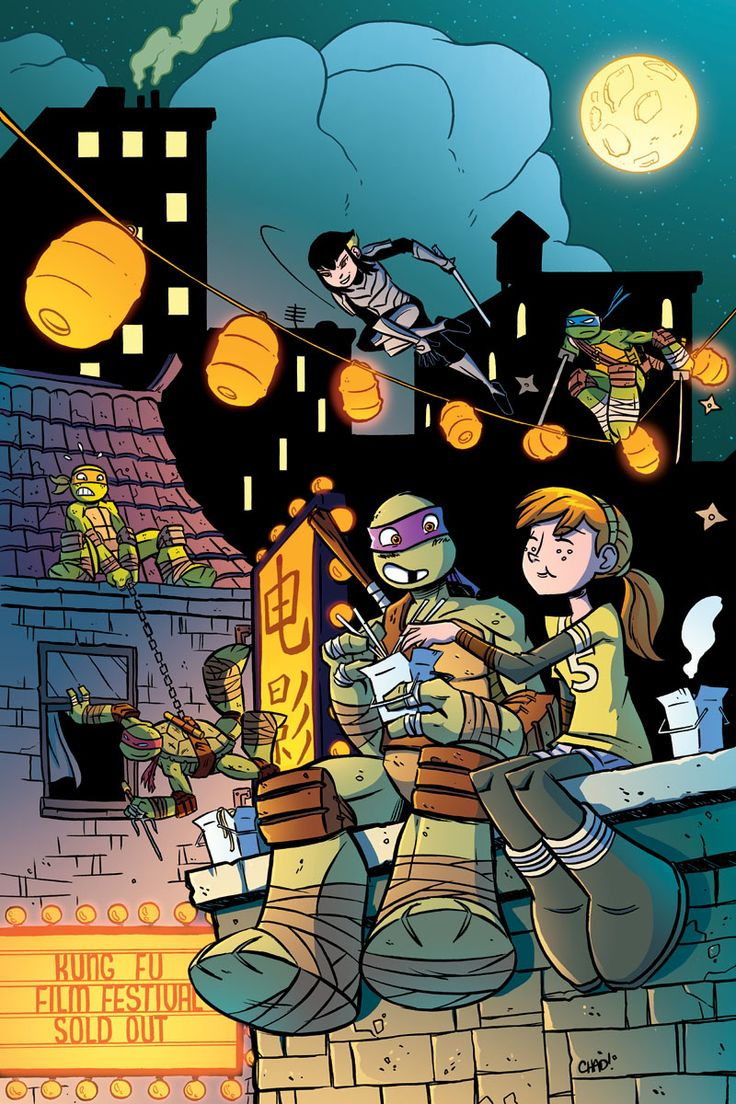 Love that Raph is breaking into the theater while Leo is busy. And April and Donnie :)