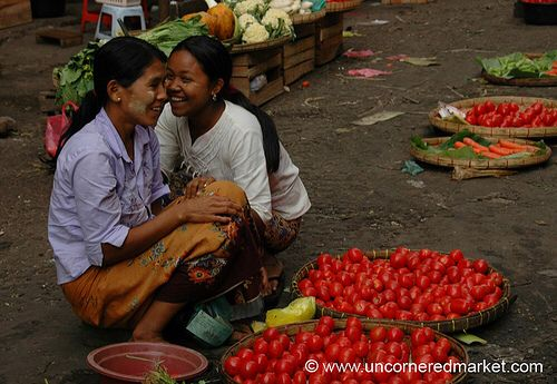 Burmese Girls at Vegetable Market - Rangoon, Burma (Yangon, Myanmar)