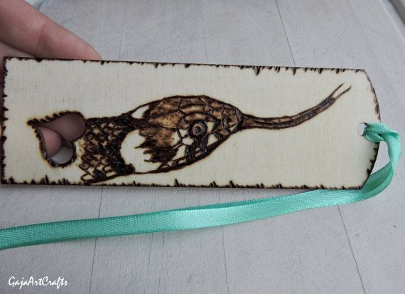 Snake head wooden bookmark Grass snake pyrography design
