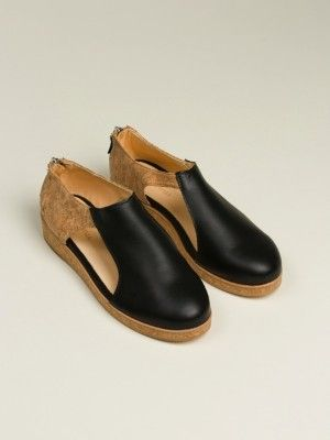 Reality Studio Cork/ Leather Sandals (Black)