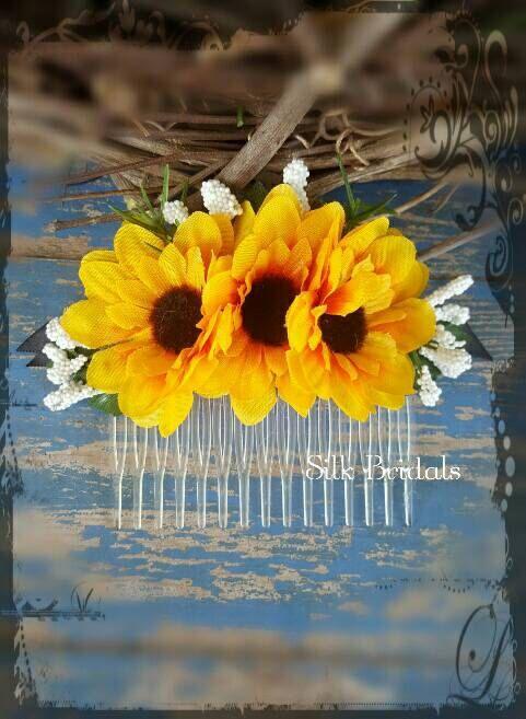 Silk mini sunflower hair comb bridal silk wedding flowers bridesmaid flower girl country rustic wedding accessory by SilkBridals on Etsy https://www.etsy.com/listing/469986693/silk-mini-sunflower-hair-comb-bridal