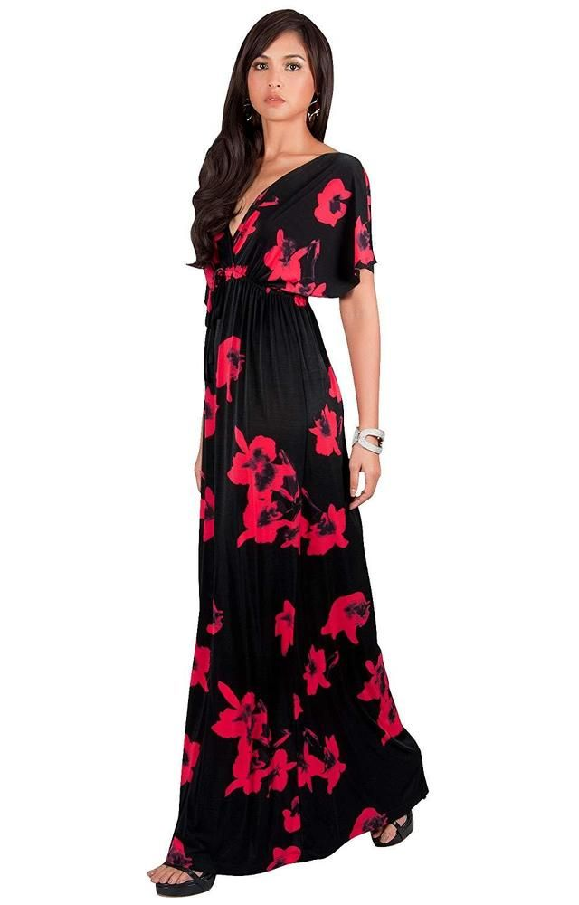 4fa9ec5d2fd3 KOH KOH Womens Long Kimono Short Sleeve Floral Summer V-Neck Flowy Maxi  Dress  fashion  clothing  shoes  accessories  womensclothing  dresses (ebay  link)
