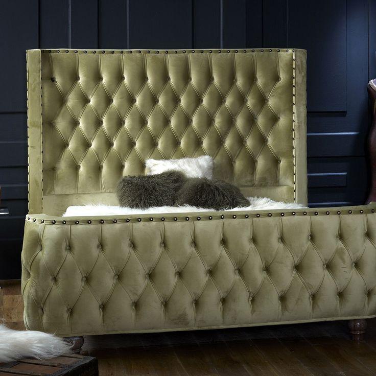 Olympia King Velvet Bed Frame, Celery Green, Choose Option