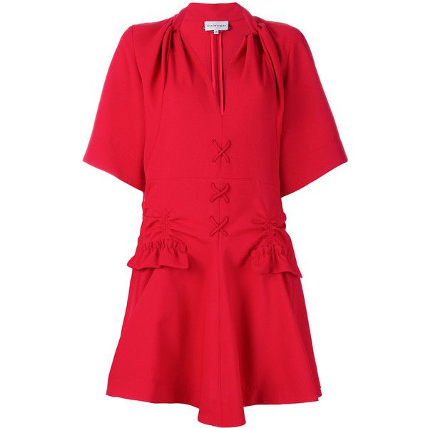 Carven lace-up detail mini dress (9.958.405 IDR) ❤ liked on Polyvore featuring dresses, red, red flare dress, short flare dress, red 3 4 sleeve dress, red v neck dress and v neck dress