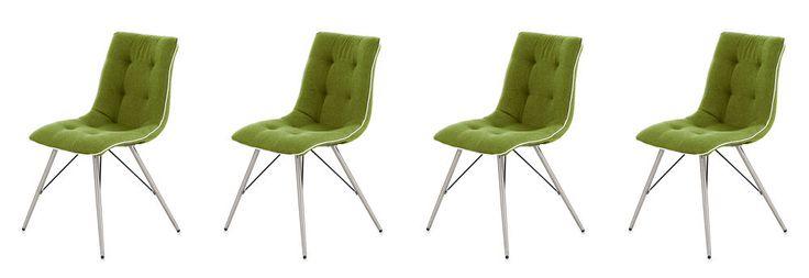 Esszimmerstuhl Set Stuhl Stühle Grün Weiß Edelstahl Stoff Kunstleder NEU 28050 in Möbel & Wohnen, Möbel, Stühle | eBay!