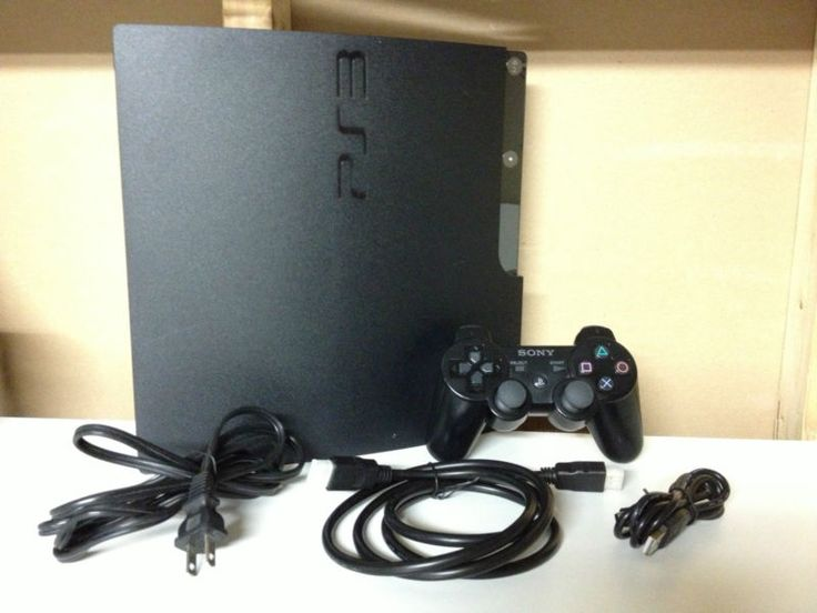 Sony PlayStation 3 PS3 Slim 120GB Black Console System * Controller & Cables…