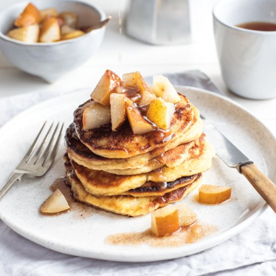 Ricotta pancakes with cinnamon pears by Nadia Lim | NadiaLim.com