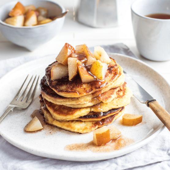 Ricotta pancakes with cinnamon pears by Nadia Lim   NadiaLim.com