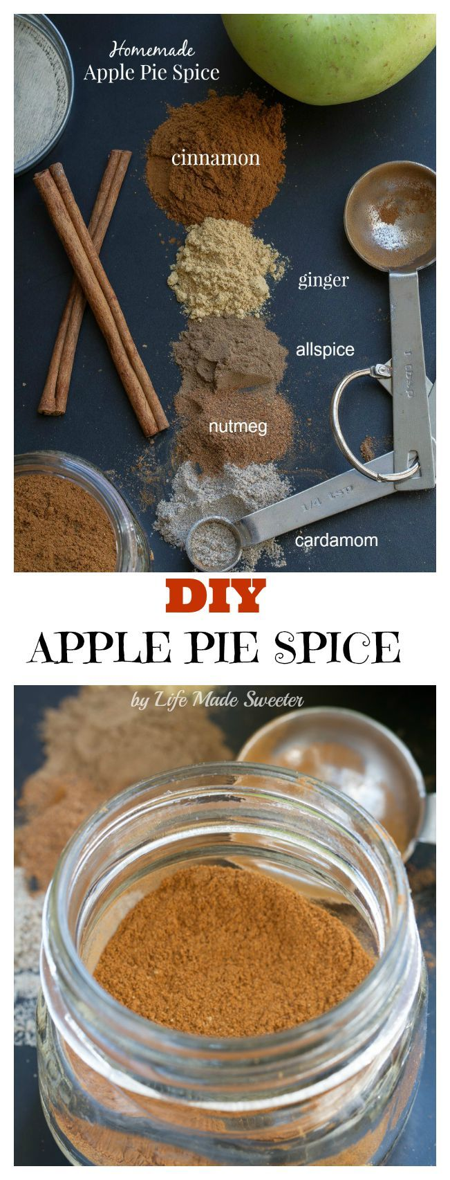 Homemade Apple Pie Spice - make your ave own DIY custom blend & you can save money and a trip to the store for make plenty of pies all season long!
