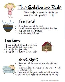 """Goldilocks rule to finding """"just right"""" books...use with Goldisocks and the Three Libearians."""