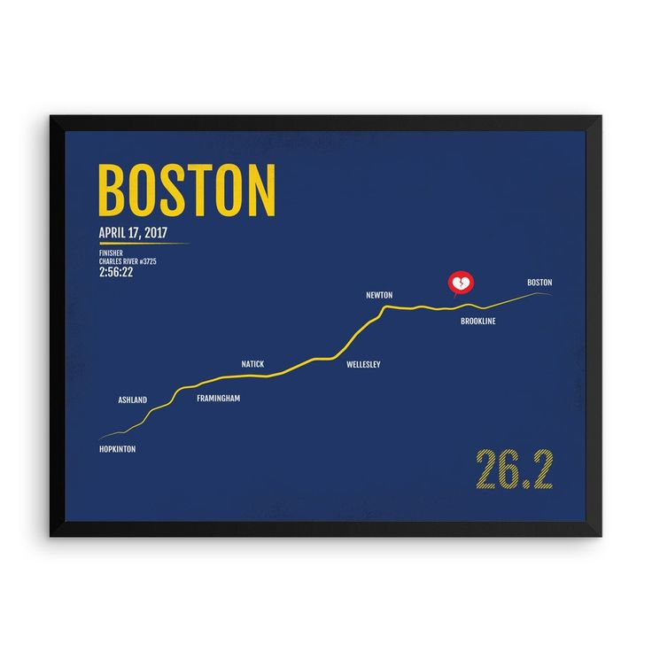 Boston Marathon Print, Free Personalization, Unique Runner Gift, Runners Gifts for Men, Runners Gift Ideas, Boston Poster, Runner's Gift Ideas, Boston Marathon Map, Boston Marathon Gear, Boston Marathon Products, Marathon Monday