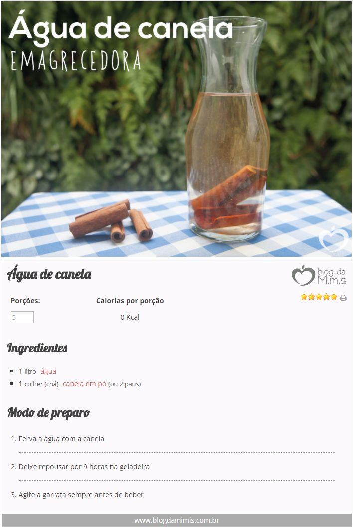 Água de canela emagrecedora - Blog da Mimis #blogdamimis #receita #dieta #águadecanela #canela #água #aromatizada