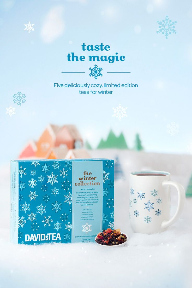 Cozy up to winter with five warm and comforting teas: Bubbie's Baklava, Sugar Plum Forest, Vanilla Chai, Apple Custard, and Cocomint Cream!