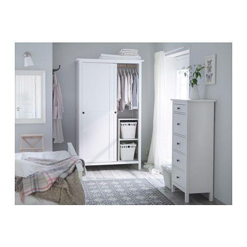 HEMNES Kleiderschrank mit 2 Schiebetüren  weiß gebeizt  IKEA~ Ikea Kleiderschrank Weiß Mit Schiebetüren