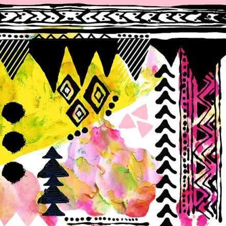 Sally Cooper   Make It In Design   Surface Pattern Design   Summer School 2014   Tribal Collage   Advanced brief