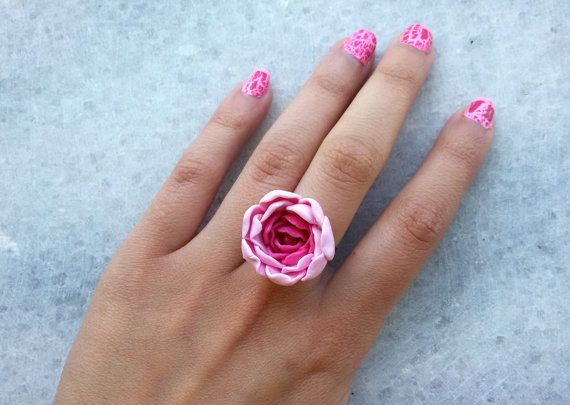 pink rose ring  pink flower ring summer flower by jewelryfoodclay