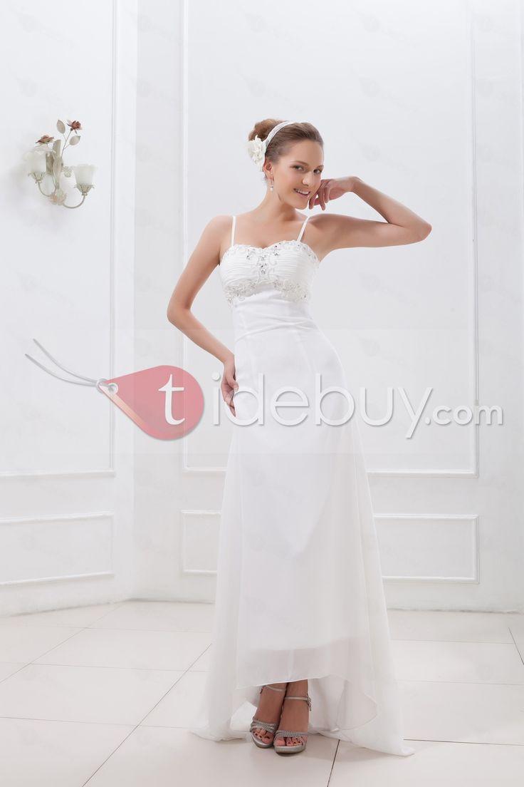 スパゲッティストラップシース/コラム非対称レングス安いウェディングドレス