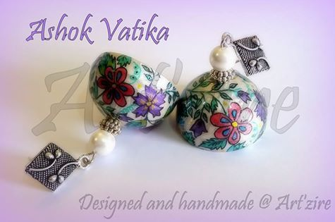 Hand painted paper quilling jhumka